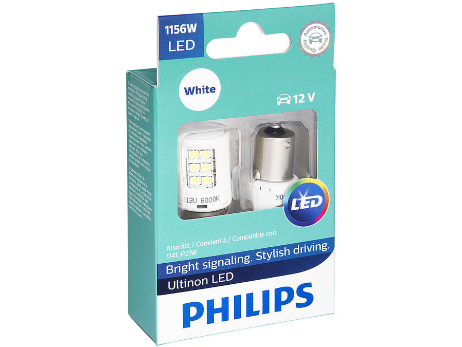 Enclosed package of Philips Ultinon LED White Interior/Exterior bulbs 1156