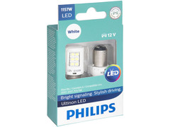 Enclosed package of Philips Ultinon LED White Interior/Exterior bulbs 1157