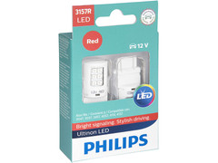 Enclosed package of Philips Ultinon LED Red Interior/Exterior bulbs 3157