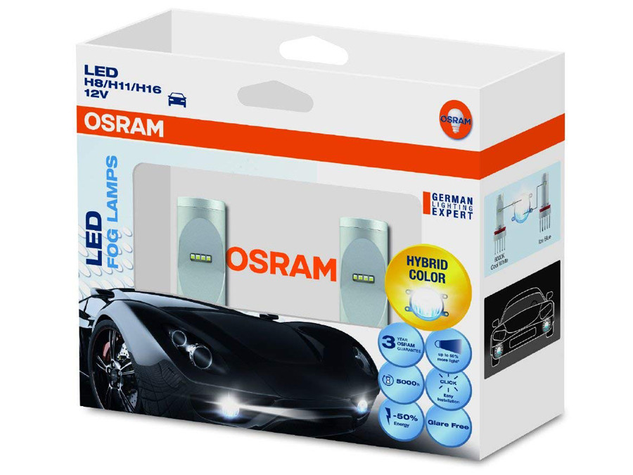Enclosed package of Osram Cool White LED 6000K kit H8/H11/H16