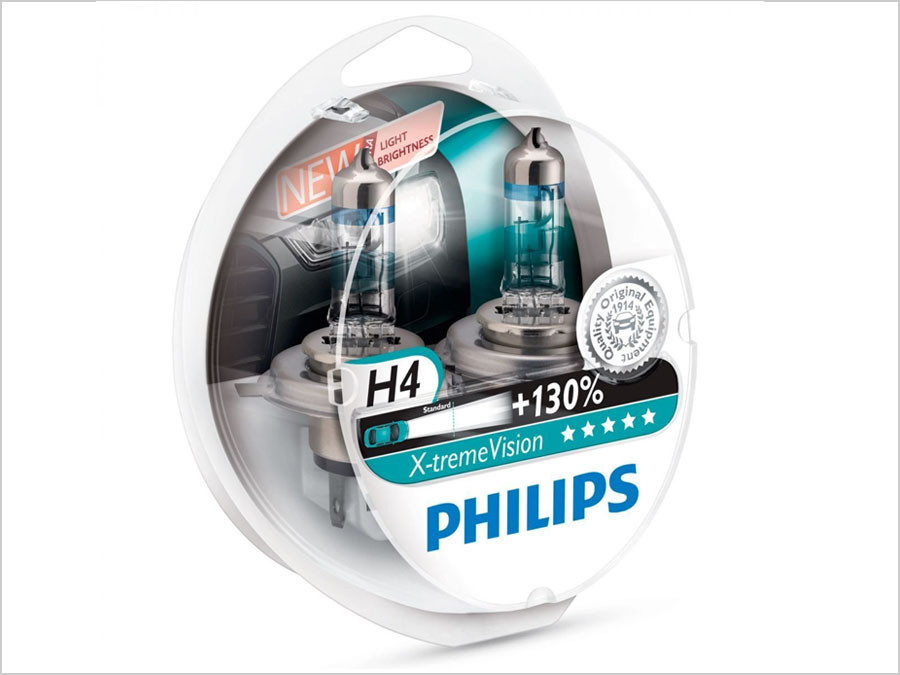 Enclosed package of Philips X-treme Vision +130% H4/9003/HB2