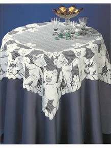 Lace Table Topper Teddy Bear Design 32 x 32 in. White