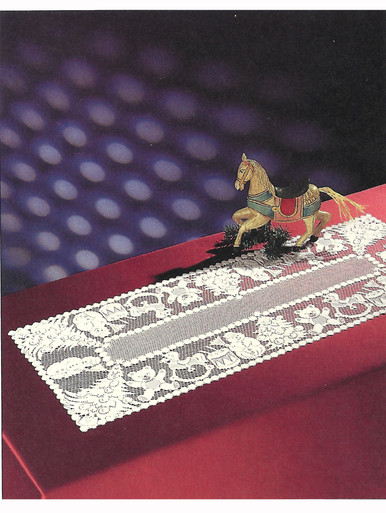 Lace Table Runner Snowman Design 16 x 40 in. White