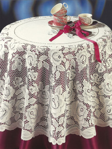 Lace Collection Rose Design Ecru or White in Various Sizes Tablecloth