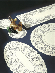 Lace Collection Rose Design Ecru or White in Various Sizes Selection
