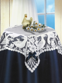 Lace Table Topper Geese Design 32 x 32 in. White