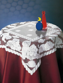 Lace Table Puppies Design 32 x 32 in. White