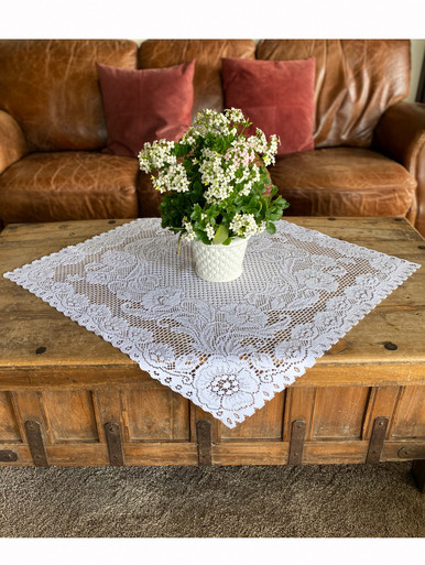 Lace Table Topper Mona Design 32 x 32 in. White
