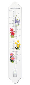 French Enamel Style Patio Thermometer Flower Design Hokco