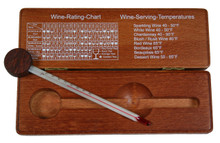 Wine thermometer in walnut finish wood case hokco open view