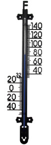 Outside Wall Thermometer 10 inch Black Hokco