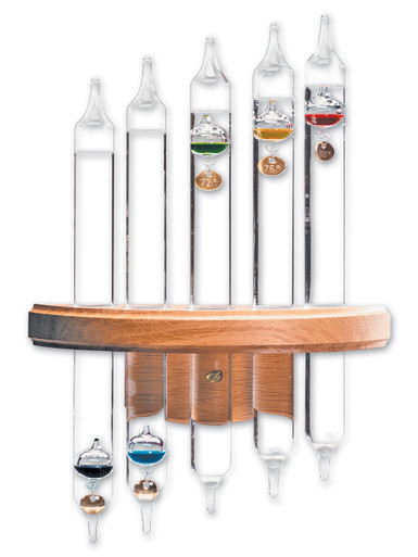 Galileo Thermometer Wall Mount 5 Tube Solid Oak
