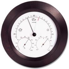 Analog Weather Station 8 inch Round Mahogany Barometer Hygrometer Thermometer Hokco