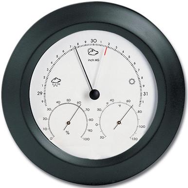 Analog Weather Station 8 inch Round Solid Wood Black Finish Barometer Hygrometer Thermometer Hokco