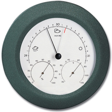 Analog Weather Station 8 inch Round Solid Wood Charcoal Grey Finish Barometer Hygrometer Thermometer Hokco