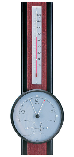 Hokco Analog Weather Station Mahogany Finish Barometer Thermometer Hygrometer
