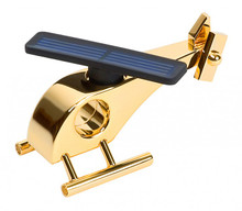 Solar Powered Metal Helicopter Tabletop Model 24 ct gold plated