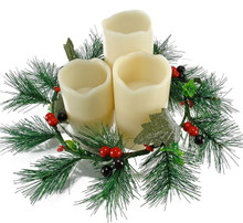 Flameless Holiday Candles with Wreath Centerpiece