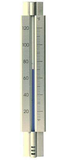 Analog Wall Thermometer Aluminum Silver Hokco