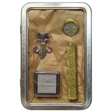Sealing Wax Stamp Set in Tin Box 'Fleur de Lys'