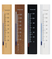 Wall Thermometer Beechwood Natural Walnut Black White Finish Hokco