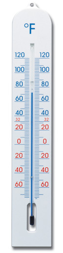 Outside Garden Wall Thermometer 16 inch Plastic White Hokco
