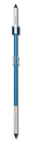 Analog Wall Thermometer Electric Blue Anodized Aluminum 34 inch tall Hokco