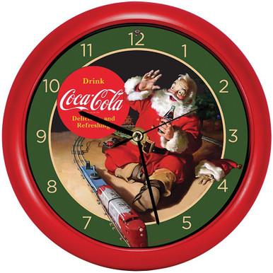 Coca-Cola Santa with Train 8 inch Sound Clock