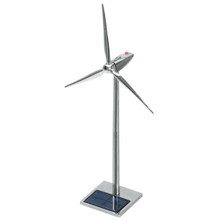 Solar Powered Metal Wind Turbine Desktop Model 19 inch with LED