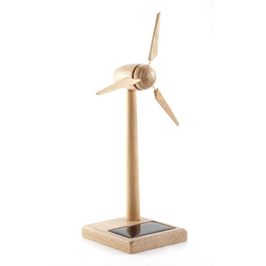 Solar Powered Wind Turbine Desktop Model Wood