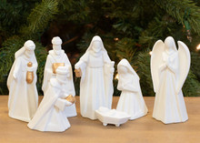 Nativity Set White Ceramic in Scene