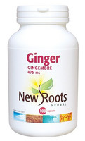 New Roots Ginger 475 mg, 100 Capsules | NutriFarm.ca