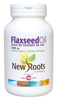 New Roots Flaxseed Oil (Certified Organic) 1000 mg, 180 Softgels | NutriFarm.ca