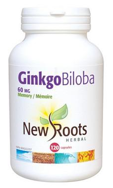 New Roots Ginkgo Biloba, 120 Capsules | NutriFarm.ca