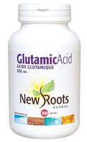 New Roots Glutamic Acid 500 mg, 100 Capsules | NutriFarm.ca