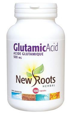 New Roots Glutamic Acid 500 mg, 100 Capsules | NutriFarm.ca
