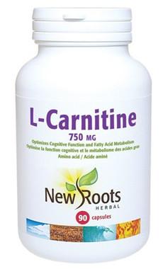 New Roots L-Carnitine 750 mg, 90 Capsules | NutriFarm.ca