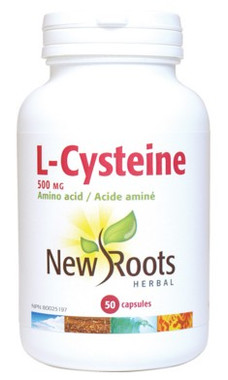 New Roots L-Cysteine 500 mg, 50 Capsules | NutriFarm.ca