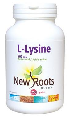 New Roots L-Lysine 500 mg, 250 Capsules | NutriFarm.ca