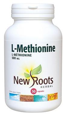 New Roots L-Methionine 500 mg, 50 Capsules | NutriFarm.ca