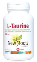 New Roots L-Taurine 500 mg, 90 Capsules | NutriFarm.ca
