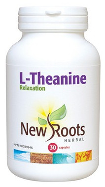 New Roots L-Theanine 250 mg, 30 Capsules | NutriFarm.ca