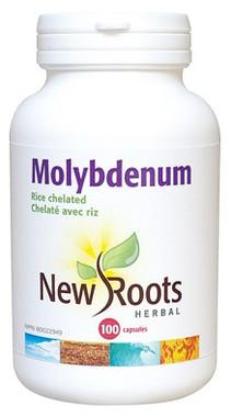 New Roots Molybdenum Rice Chelated 150 mcg, 100 Capsules | NutriFarm.ca