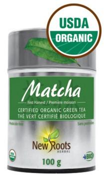 New Roots Matcha Green Tea Certified Organic, 100 g | NutriFarm.ca