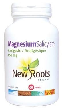 New Roots Magnesium Salicylate 650 mg, 60 Capsules | NutriFarm.ca