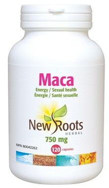 New Roots Maca 750 mg 0.42% macasides, 120 Capsules | NutriFarm.ca