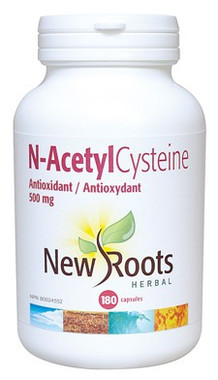 New Roots N-AcetylCysteine 500 mg, 180 Capsules | NutriFarm.ca