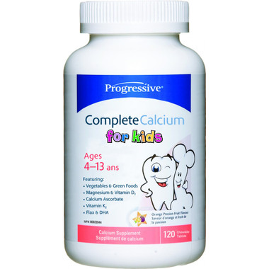 Progressive Complete Calcium for Kids, 120 Chewable Tablets   NutriFarm.ca