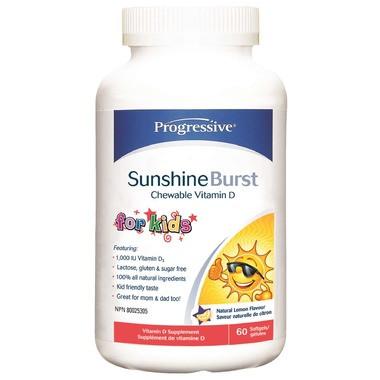 Progressive Sunshine Burst Vitamin D Chewable for Kids, 60 Softgels | NutriFarm.ca