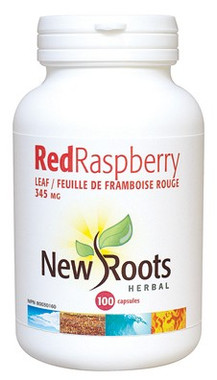 New Roots Red Raspberry Leaf 345 mg, 100 Capsules | NutriFarm.ca
